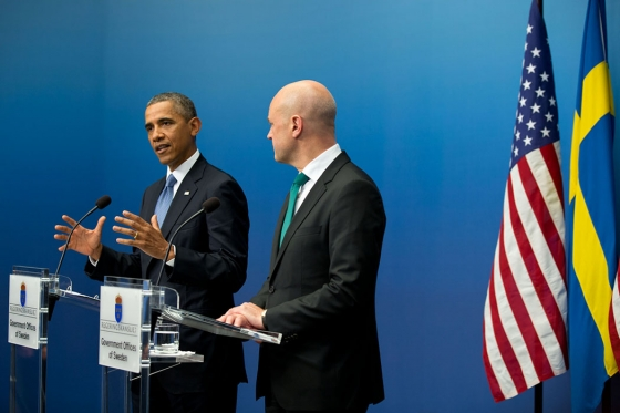 President Barack Obama and Swedish Prime Minister Fredrik Reinfeldt participate in a joint statement in Sweden on September 4th, 2013.